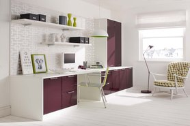 Fitted Office White & Plum High Sheen